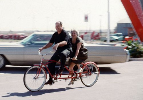 AA mom and dad on a bike